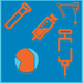 Icon representing a variety of treatment options, such as laster therapy, homeopathy, gait analysis, etc.
