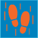 Icon of footprints surrounded by lines indicating vibration.